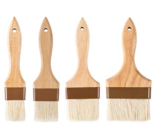 4-Piece Pastry Brush Set of 1-Inch, 2-Inch, 3-Inch and 4-Inch Width Brushes with Boar Bristles, Lacquered Hardwood Handle, Professional Kitchen/Cooking Brushes
