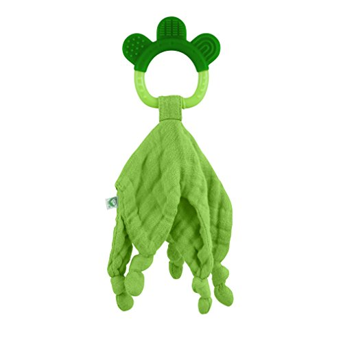 - green sprouts Muslin Blankie Teether made from Organic Cotton | Soothes gums & promotes healthy oral development | Multiple textures massage gums, wet knots for extra relief, Easy to hold & chew