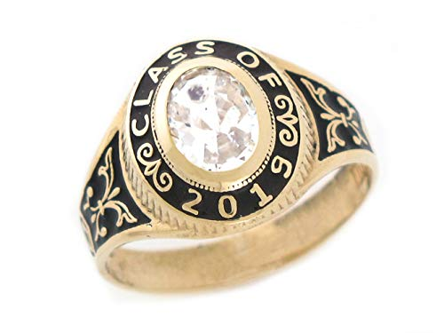 10k Class Ring (10k Gold Simulated April Birthstone CZ 2019 Class Graduation Ring)