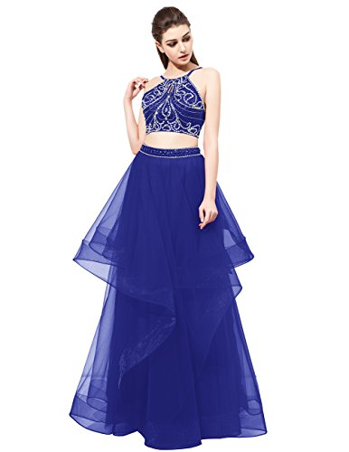 DRESSTELLS Long Prom Dress 2017 Two Pieces Asymmetric Tulle Evening Party Gowns Royal Blue Size 4
