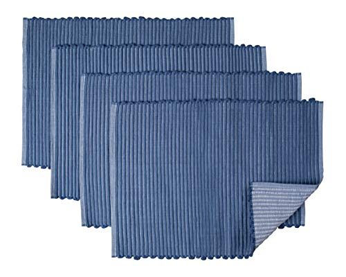Sticky Toffee Chunky Ribbed Reversible Placemat Set, 4 Pack, 14 in x 20 in, Blue