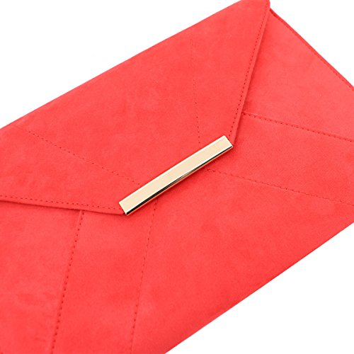 ZKHOECR Suede Clutch Purse Women Faux Chain Strap Red Envelope Bag Magnet Hook with OFZOU