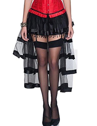Burvogue Femmes Steampunk Gothique Dguisement Vintage Multi Couches Jupe Mousseline Noir 1