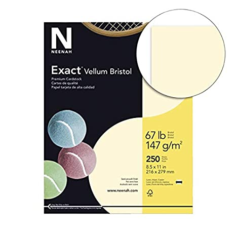 92 Bright 2.5 Height 8.5 Width Pack of 250 67 lb Ivory 11 Length Exact 81368 Vellum Bristol Paper