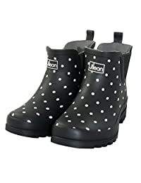 Jileon Black Spotted Ankle Height Rain Boots for Women - Widest Fit Boots in the US - Wide in the Foot and Ankle