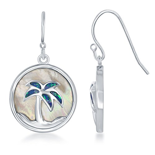 Silver Inspired Palm Tree Sterling (Sterling Silver Mother of Pearl and Created Opal Palm Tree Circle Dangle Earrings)