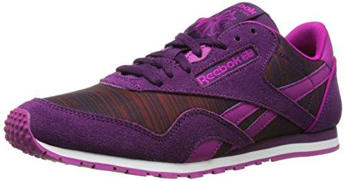 Reebok Women's Classic Nylon Slim Geo Graphic Shoe, Royal Orchid/Fierce Fuchsia/Night Violet/Raspberry/Pink, 9 M US