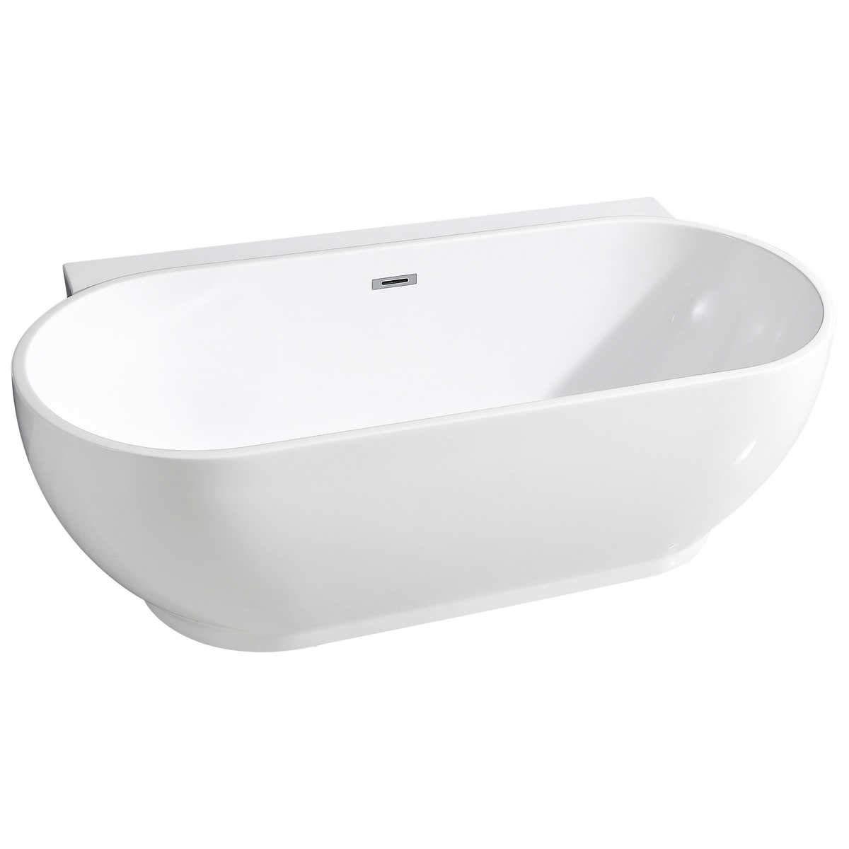 3 mm Acrylic Reinforced Fiberglass OVE Enzo 66 in Bathtub Freestanding Seamless Bathtub Freestanding