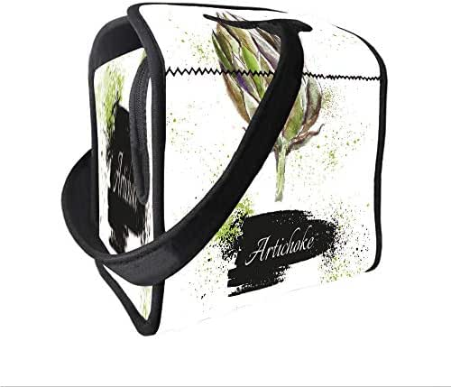Neoprene Lunch Tote Bag with Shoulder Strap,Artichoke,Hand Drawn Delicious Fresh Vegetable Healthy Menu Good Eats Super Food,Fern Green and Black,for boys girls and adults