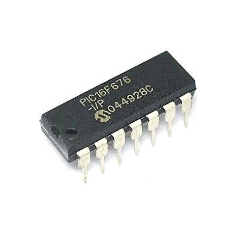 Exiron 50PCS PIC16F676-I/P PIC16F676 16F676 IC MCU FLASH 1K W/AD 14-DIP NEW