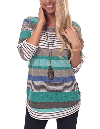 Womens Striped 3/4 Sleeve Top Blouse Casual Crew Neck Tunic Tops Shirt, Cyan Color Striped, X-Large ()