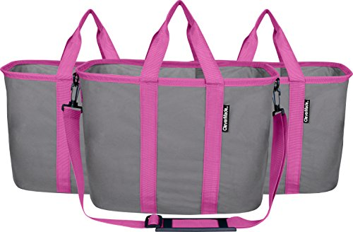 CleverMade EcoBasket Reusable Grocery Tote Bags with Shoulder Strap - Collapsible 20L Shopping Baskets, Charcoal/Fuchsia, 3 Pack