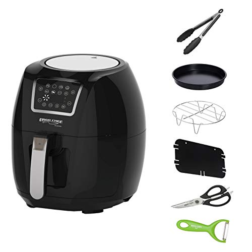 Cheap Ergo Chef USA MY AIR FRYER 5.8-Quarts Electric Air Fryer XL 1700 WATTS Includes 6 Accessories; Silicone Tongs, Food Divider, Stainless Steel Grill Grate, Pizza / Cake / Pie Pan, Multi Function Kitchen Shears, Vegetable Y Peeler and Delicious Recipes