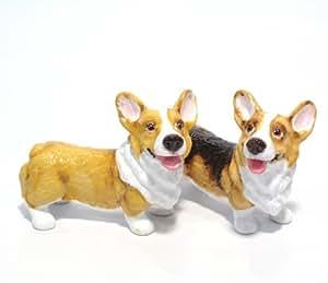 Pembroke Welsh Corgi Dog Ceramic Figurine Salt Pepper Shaker 00038 Ceramic Handmade Dog Lover Gift Collectible Home Decor Art and Crafts