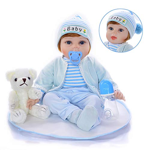 KEIUMI Reborn Baby Doll 22' Realistic Boy Newborn Babies Dolls with Bear Toy (Open Eyes) from KEIUMI