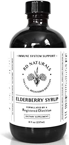 RD Naturals Elderberry Syrup - Formulated by a Registered Dietitian - Immune Support - Lab Tested, Organic Elderberries, Raw Honey, No Preservatives, All Natural, Tastes Great, Amber Glass Bottle.