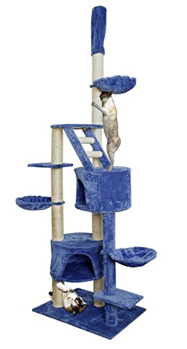 "(NEW! 101"" Blue White Cat Tree Play House Tower Condo Furniture Scratch Post Basket)"
