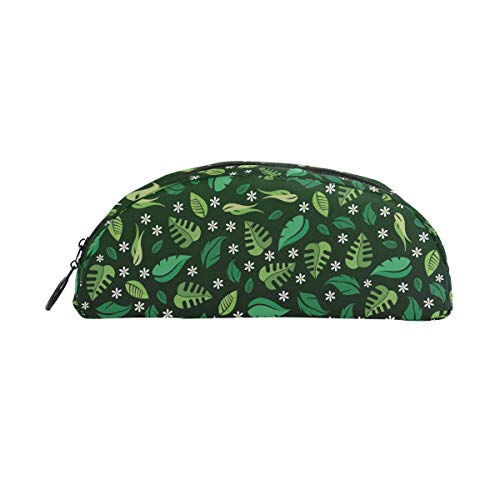 Forest Leaves Pattern Pen Case Semicircular Shell Shaped Pencil Holders Large Capacity Pouch Makeup Cosmetic Boxes School Office Travel Bag Dark Green