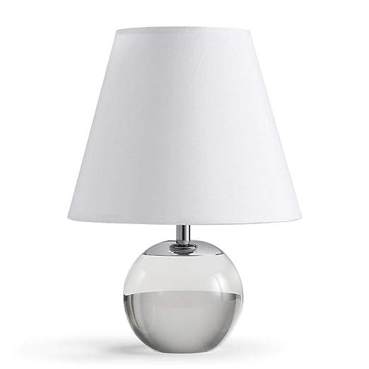 Lámpara de Mesa Base de Bola de Cristal Pantalla de Tela ...