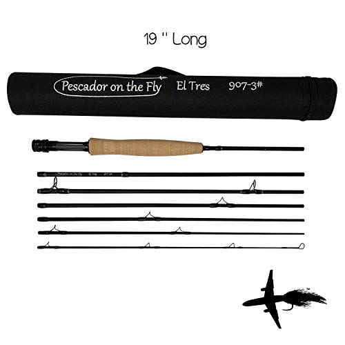Premium Fly Fishing Rod | 19 Inch Travel Case | TSA Approved Carry On | 7 Sections | IM10 Graphite Rod | Solid Aluminum Reel Seat | Fast Action | 9 Feet Long | 3 Weight Rod
