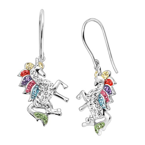 Crystaluxe Unicorn Drop Earrings with Swarovski Crystals in Sterling Silver ()