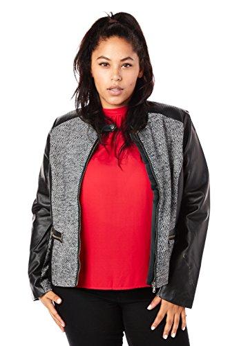 Ladies Tweed Jacket - Womens Ladies Plus Sizes Curvy Hot Great Tweed Jackets JX13221 (2XL, Black)