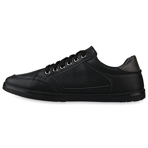 Stiefelparadies Sportliche Herren Sneakers Sneaker Low Schnürer Freizeit Turnschuhe Denim Stoffschuhe Schuhe Leder-Optik Lochungen Flandell Schwarz Cut-outs