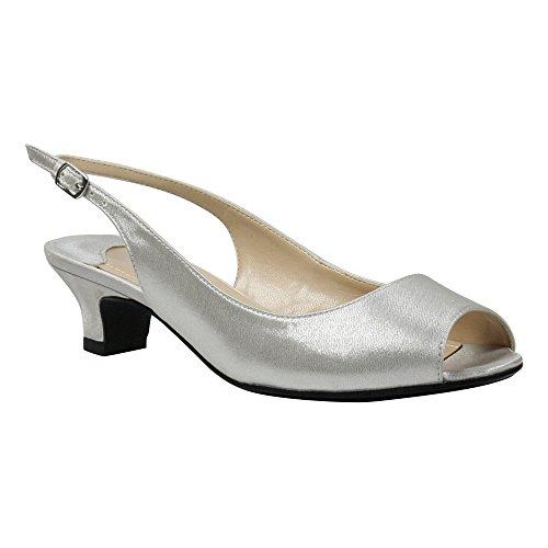 vey Low Heel Slingback,Silver Satin,US 9 W ()