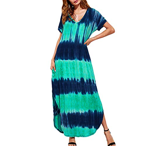 YKARITIANNA 2019, Women's Plus Size V-Neck Casual Short-Sleeved Gradient Print Side Slit Dress Green