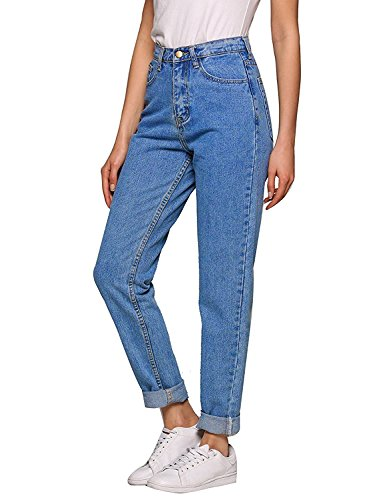Women High Waist Jeans,Stretch Straight-Leg Denim Pants (Medium Blue, 30(US 12))