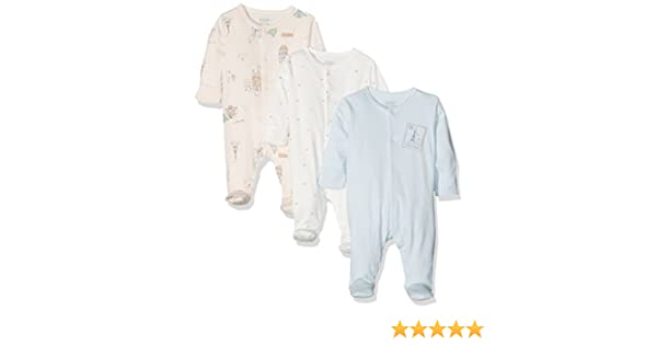 Mamas & Papas 3PK Paris Sleepsuits, Pijama para Bebés, Multicoloured (Pink/Blue/Cream), 9 Mes(Pack de 3): Amazon.es: Ropa y accesorios