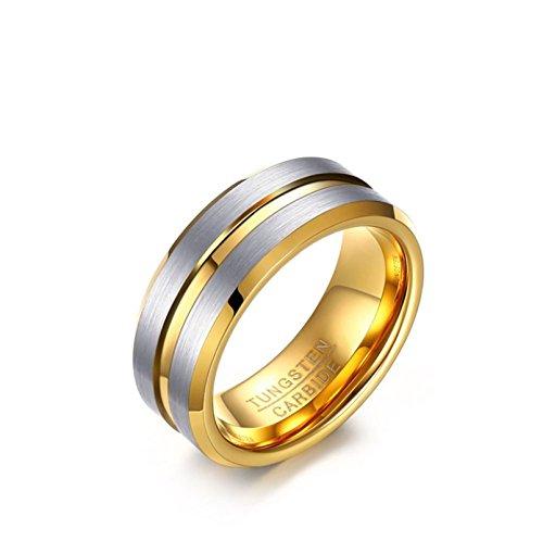 KnSam Wedding Band for Men Matt Finished Silver Grooved Center 8MM Gold Size 12