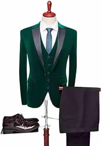 6afd9738a84c8a Men's One Button Royal Blue Suit Velvet Jacket Black Vest Pants Wedding  Suits Groom Tuxedos