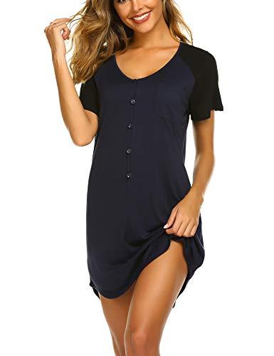 (Ekouaer Sleepwear Womens Nightgown Short Sleeve Sleep Nightdress V Neck Sleep Tee Nightshirt Champlain,X-Large)
