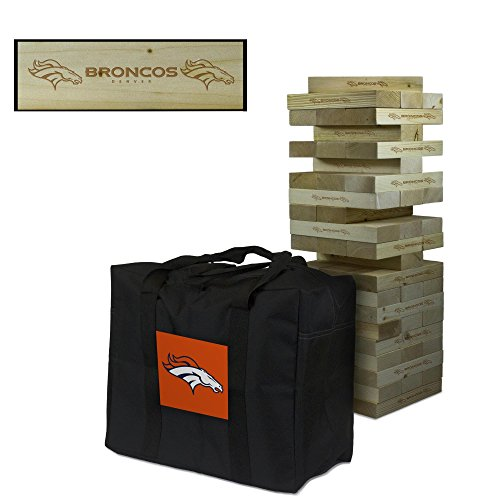 NFL Denver Broncos Denver Football Wooden Tumble Tower Game, Multicolor, One Size by Victory Tailgate