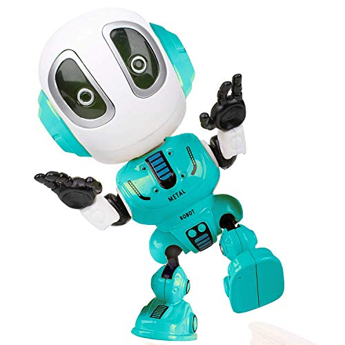 (Alagoo Kids Talking Robot Toys, Repeats Your Voice Mini Robots for Boys / Girls with Posable Body, Colorful Flashing Lights and Cool Sounds Robot Interactive Toy)