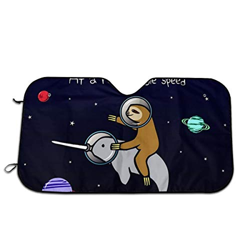 YVONNE WIDLAN Windshield Sun Shade Sloth Riding Narwhal in Space Car Windshield, Sun Shade to Keep Vehicle Cool Protect Your Car from Sun Heat & Glare Best UV Ray Visor Protector (Size: 51