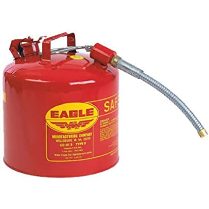 Safety Gas Can >> Eagle U2 51 S Red Galvanized Steel Type Ii Gas Safety Can With 7 8 Flex Spout 5 Gallon Capacity 13 5 Height 12 5 Diameter