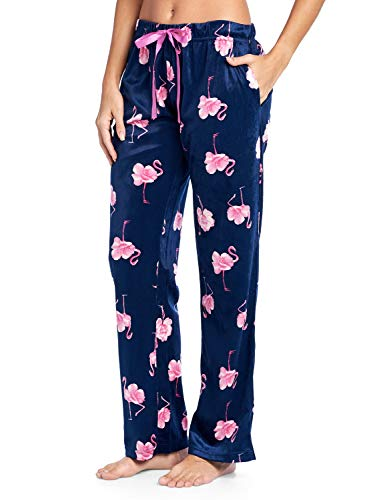 Ashford & Brooks Women's Plush Mink Fleece Pajama Sleep Pants - Navy Pink Flamingo - 2X-Large