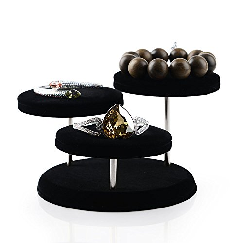 Oirlv Velvet Jewelry Towers Display Stand Organizer Rack For Bracelet,Bangle,Watch,Rings Earrings,Jewellery Holder (3 Tier,Black) by Oirlv (Image #3)