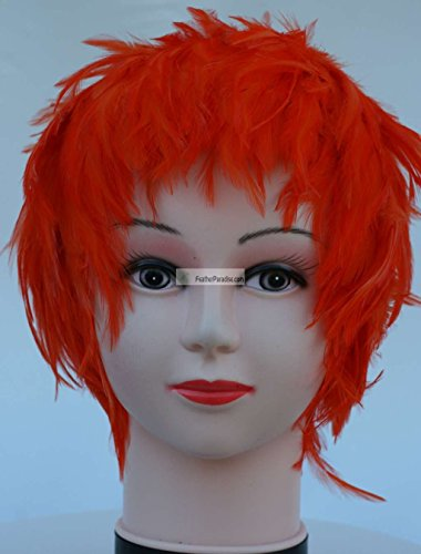 Orange Hackle Feather Costume Wig Halloween Costume Coque Feather Wigs (Atlanta, GA)