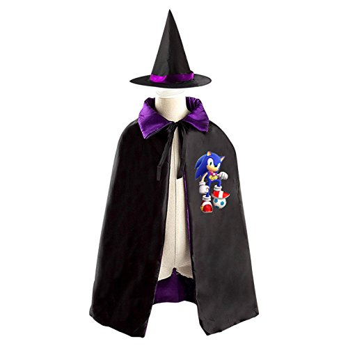 Sonic The Hedgehog and Mario Halloween costume dress with hat reversible witch cloak