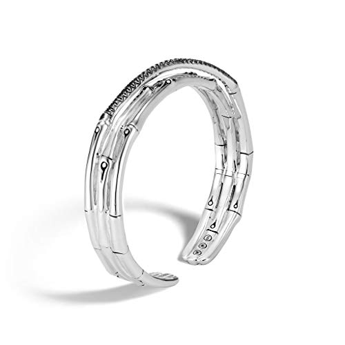(John Hardy Women's Bamboo Silver Small Flex Cuff with Black Sapphire and Black Spinel, Size M - CBS59384BLSBNXM )