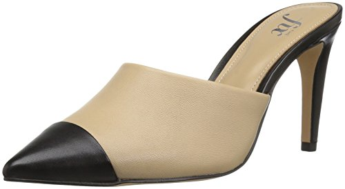 Leather Pointed Toe Mules (The Fix Women's Jenkins Choked-up Pointed Toe Mule,Dove/Black,8 B US)