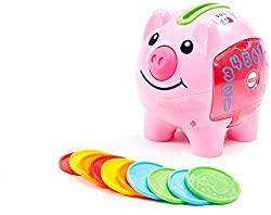 Cha-ching! Get ready to cash in on playtime fun and learning! This piggy bank introduces baby to counting, colors, Spanish and more through music, silly sounds and phrases. With 10 colorful coins to drop into the Piggy Bank's back, and a door for put...