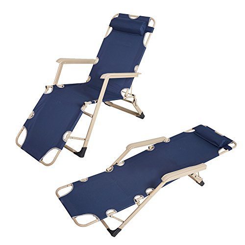 93a892038354 COLOR TREE Adjustable Chaise Lounge Chair Recliner Portable Folding Camping  Bed & Cot Dark Blue