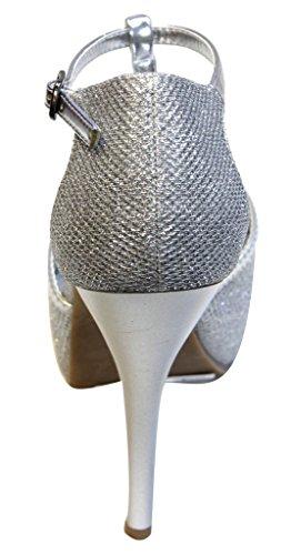 Bonnibel Ayala-2 Para Mujer Peep Toe Plataforma En T Plataforma De Tacón Alto Sandalias De Brillo De Plata