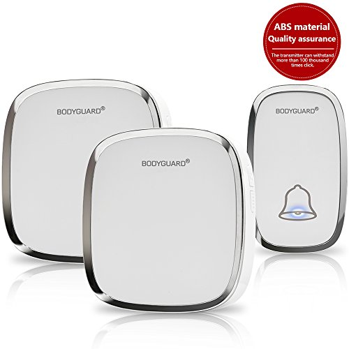 Price comparison product image Bodyguard Wireless Doorbell,Waterproof Chime Kit Operating at 1000ft with 1 Push Button TransmitterBattery includedand 2 plug-in Receivers,36 Chimes,4 Level Volume LED Indicator - white