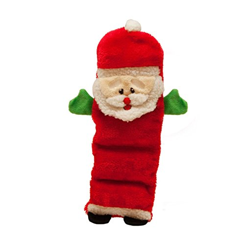 Outward Hound Kyjen  2790 Invincibles Plush Santa Holiday Stuffingless Dog Toys Squeaker Toy 5 Squeakers, Medium, ()