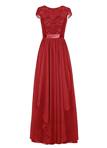 Party Sleeves Short Dark Bridal Dress Chiffon Amore with Women's Dress Lace Bridesmaid Red Long STWRWZ4xw